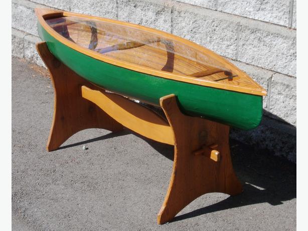 cedar strip canoe coffee table outside nanaimo, nanaimo