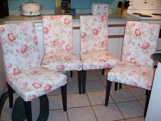 Set Of 4 Ikea Henriksdal Parsons Chairs With Floral Covers