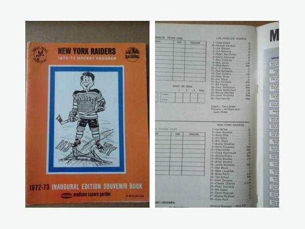1972/73 New York Raiders (WHA) program