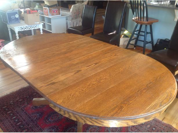 Large Oak Dining Table with rounded corners 7 leaves  : 39496159614 from www.usedvictoria.com size 614 x 461 jpeg 47kB