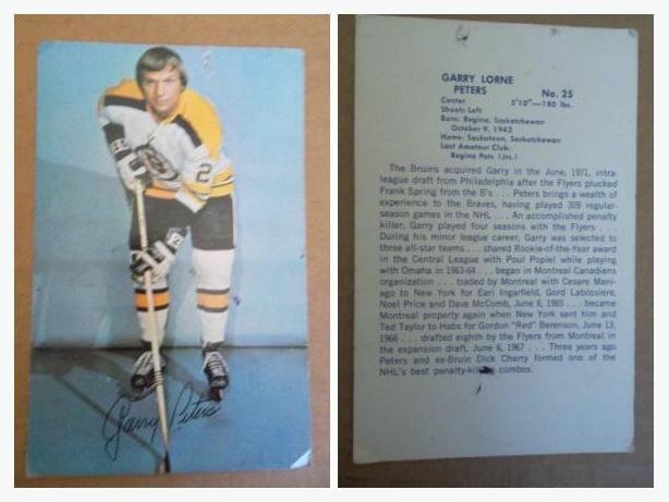 1970's Garry Peters (Boston Bruins) postcard size hockey card