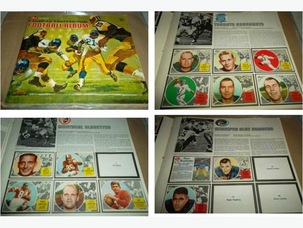 1963 Post CFL Card Album with Topps and Post CFL cards glued in