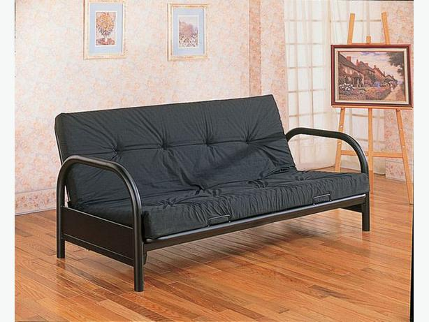 FUTON Ikea black metal frame with removable mattress Esquimalt