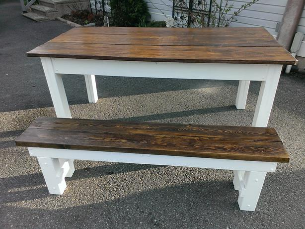Elegant RUSTIC HARVEST TABLE WITH BENCH