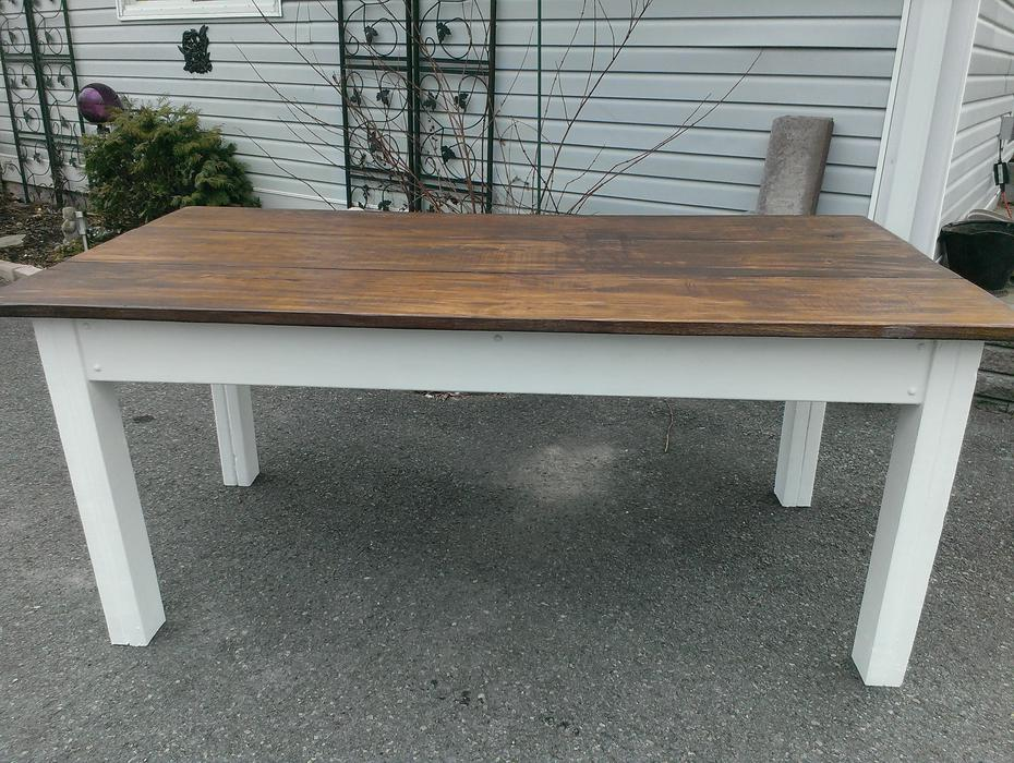 Rustic Harvest Table With Bench Outside Ottawa Gatineau