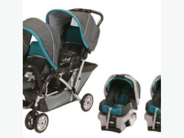 double stroller double car seat combo west regina regina mobile. Black Bedroom Furniture Sets. Home Design Ideas