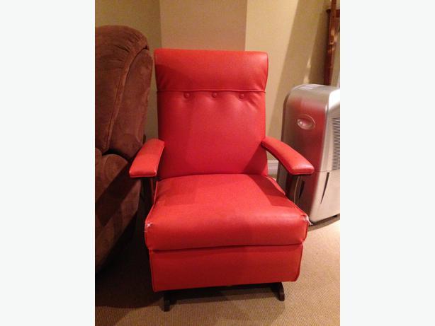 Orange leather rocker chair