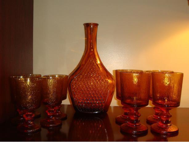 Vintage Amber Glass Decanter & 9 Glasses