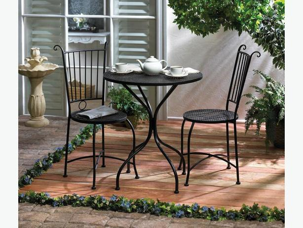 Black Metal Bistro Chairs & Table Patio Furniture Set 3PC Brand New
