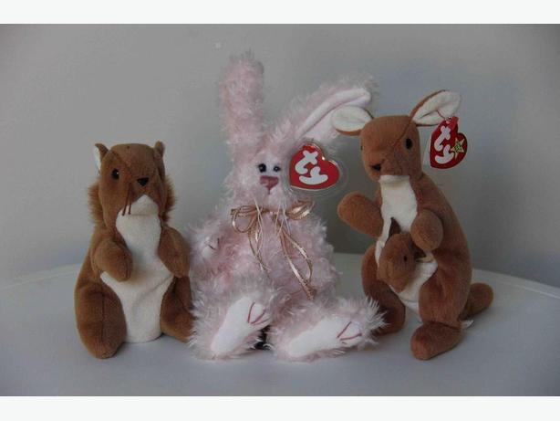 Ty Beannie Babies - Nuts the Squirrel, Blush the Bunny, Pouch the Kangaroo