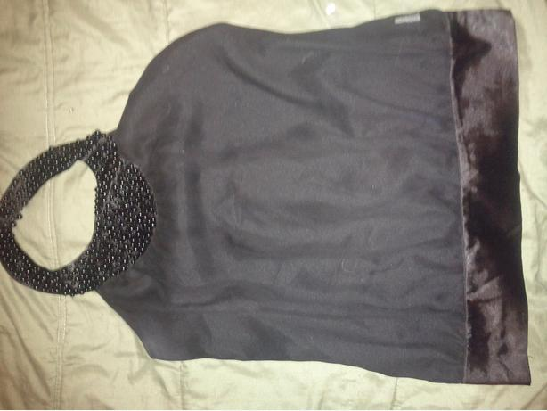 Silk Black top with Bead neck Size medium