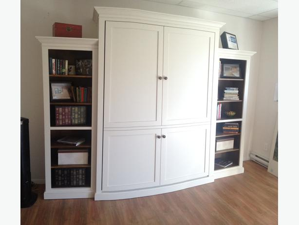 Murphy Beds Langford : Real wood murphy bed painted antique white plus two side