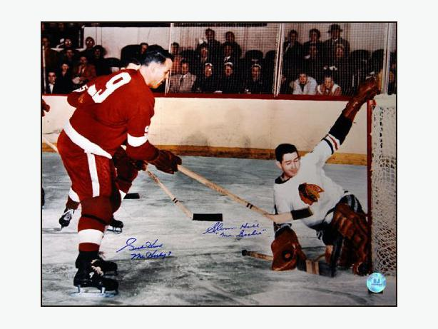 GORDIE HOWE vs GLENN HALL Dual Signed 16x20 Photo