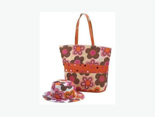 Fun & Splashly Multi-Colored Retro Floral Hat & Tote Bag Set Brand New