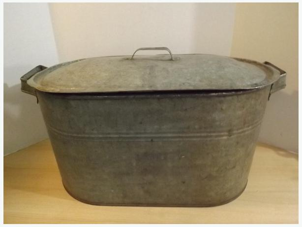 Halloween Fall Antique Galvanized Steel Wash Tub With Lid