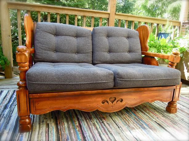 Vintage Wood Frame Compact Loveseat Removable Cushions