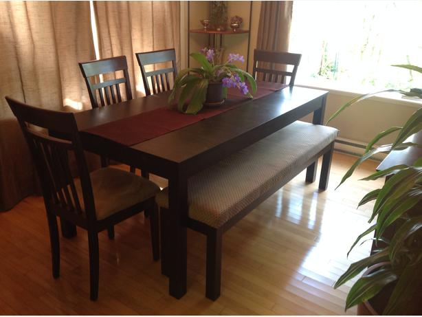 IKEA bjursta extendable table and bench added 6 chairs Saanich