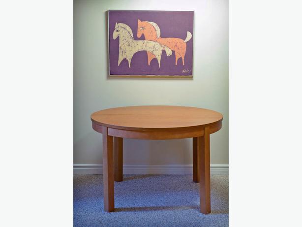 Round Ikea Teak dining table extensions Nepean Ottawa : 40105731614 from usedottawa.com size 614 x 461 jpeg 21kB