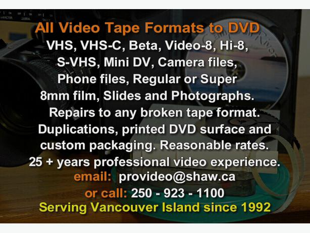 VHS Video Tapes and Movie films to DVD Transfer, all formats