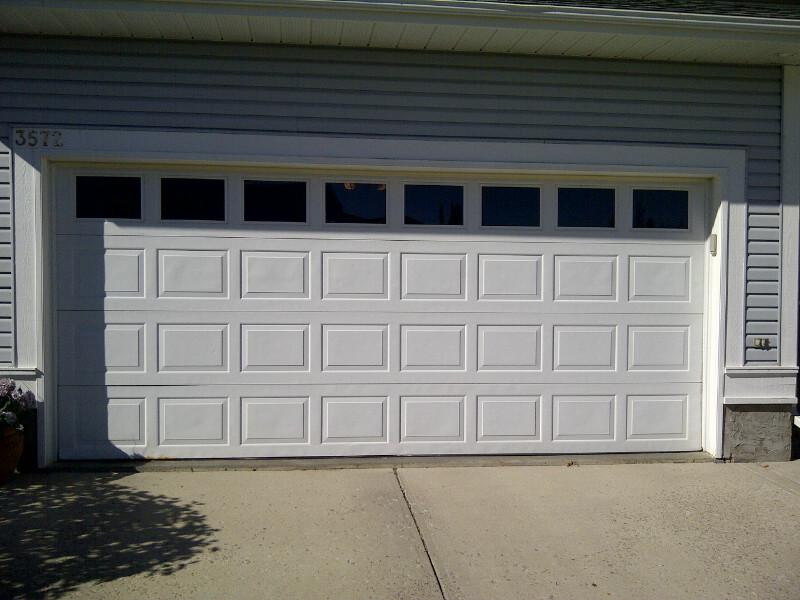 Standard double wide insulated steel garage door with for How wide is a standard garage door