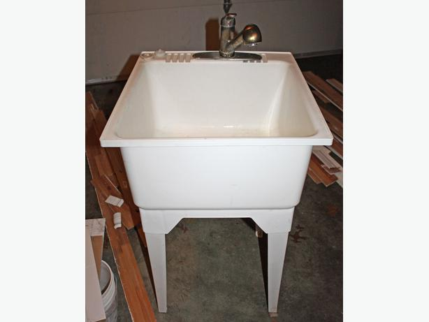 Laundry Tub Plastic : Log In needed $30 ? Plastic utility/laundry sink on legs with Moen ...