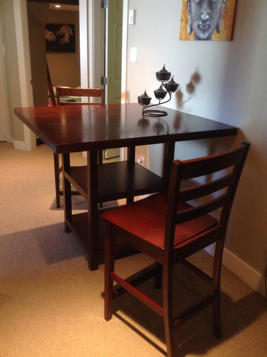 Solid wood table with 4 chairs and storage 260 for Dining room tables victoria bc