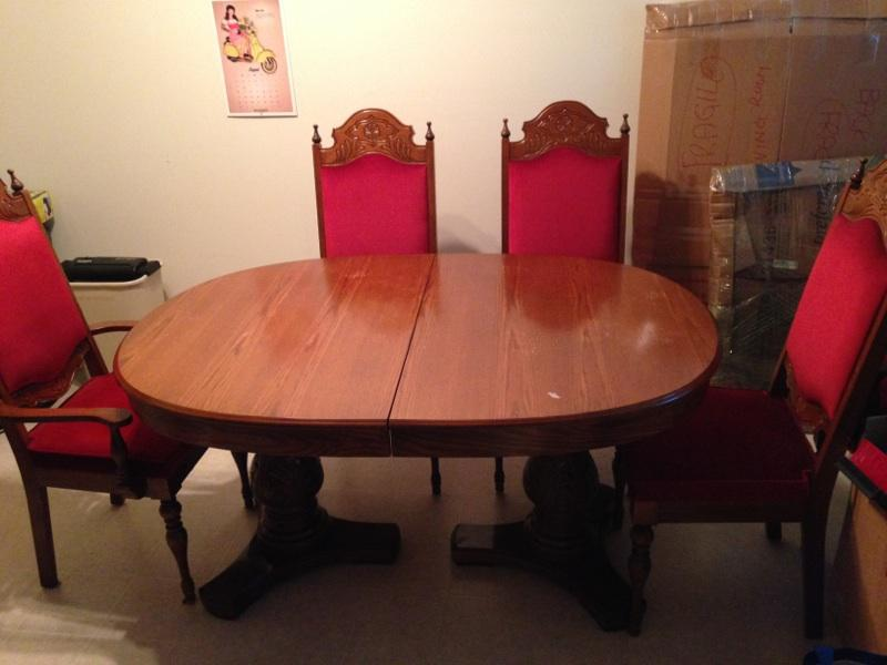 Oak retro style dining room table saanich victoria for Dining room tables victoria