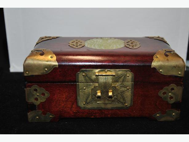 Antique Chinese Brass u0026 Wood Jewelry Box with Jade Medallion decoration Silk lin & Antique Chinese Brass u0026amp; Wood Jewelry Box with Jade Medallion ... Aboutintivar.Com