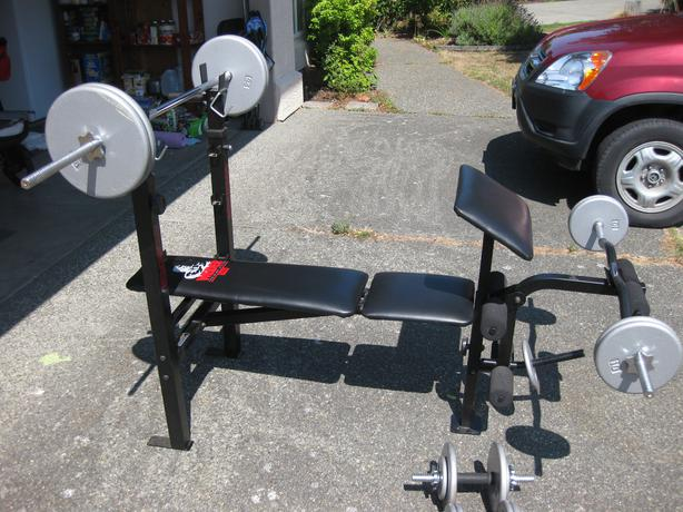 weider weight bench and weights saanich victoria