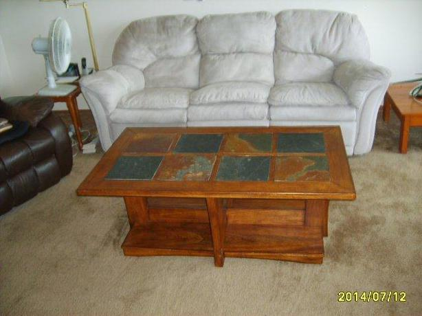 Wood Coffee Table With Stone Tile Inlay