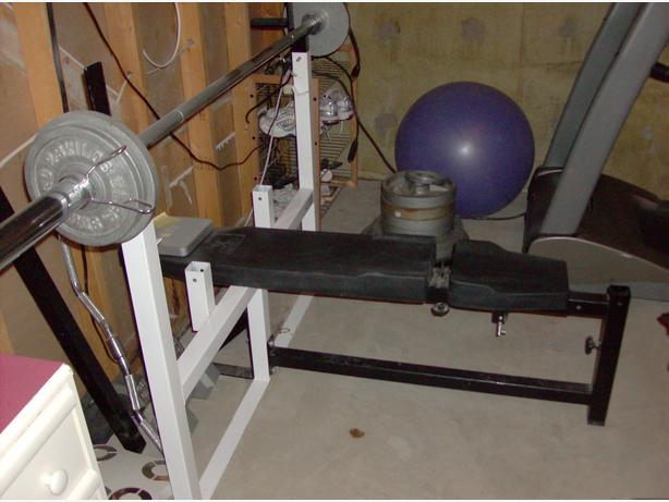 Northern light olympic bench rack with weights and bar