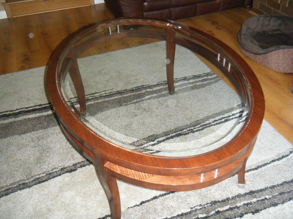 Excellent Solid Wood And Glass Oval Coffee Table From Jordans Furnishings Victoria City Victoria