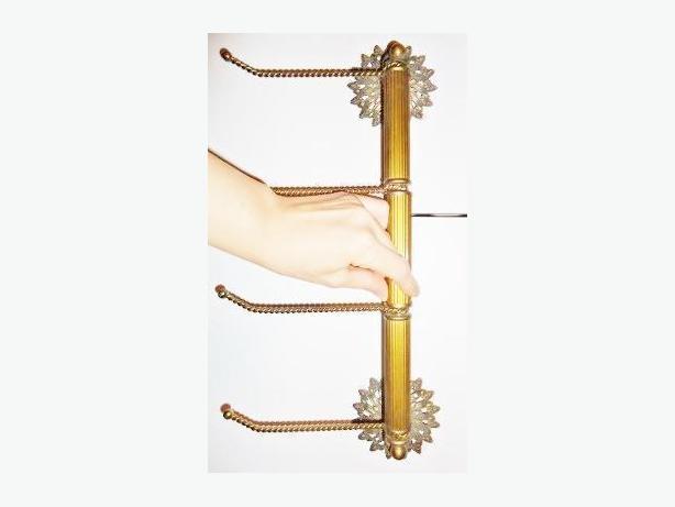 Brass Hand Towel Rack - Sunflower Motif - Like New