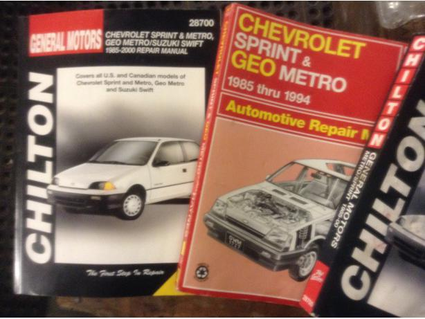 Geo Metro and Chev Sprint repair manuals 1985 to 2000