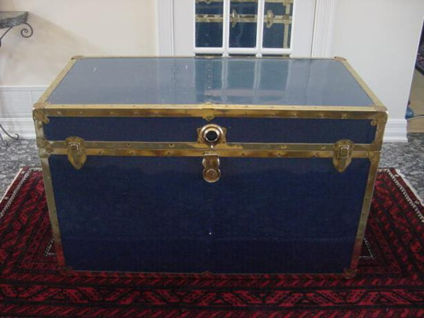 huge cedar lined metal storage trunk chest brass fittings chest