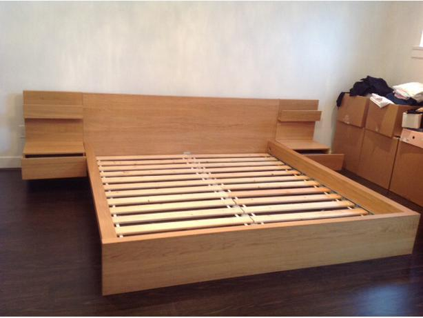 Ikea malm bed frame with nightstand furniture design blogmetro - Table that attaches to bed ...