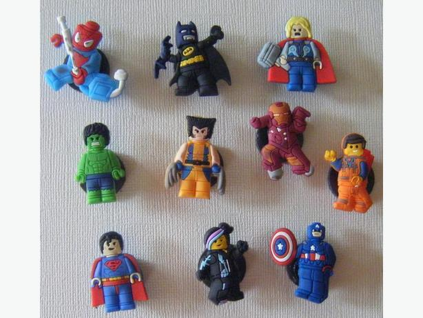 Set of 10 Lego Mini Figures Shoe Charms or Magnets