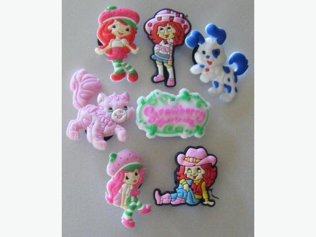 Set of 7 Strawberry Shortcake Shoe Charms or Magnets
