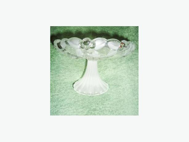 Small Glass Candy / Nut Stand with Frosted Floral Motif