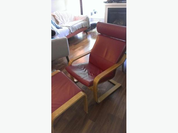 red leather poang chair with matching footstool a few cat scratches