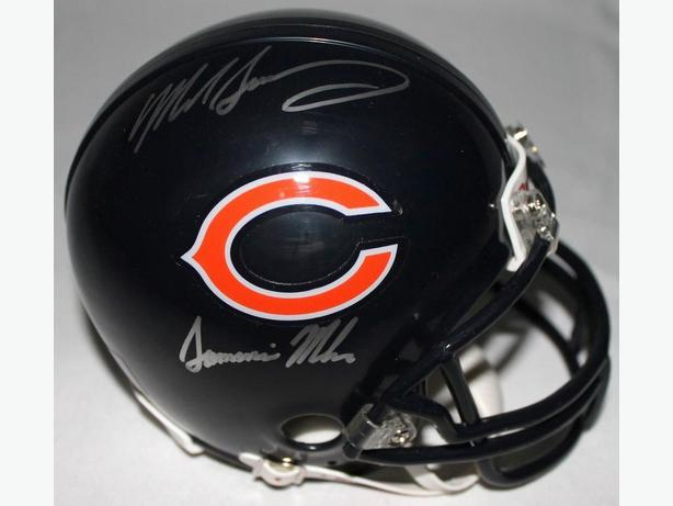 "Mike Singletary Signed Bears Mini-Helmet Inscribed ""Samurai Mike"""