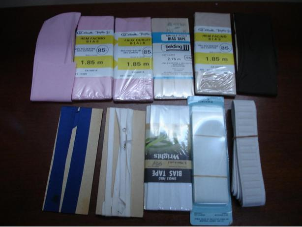 10 Pieces Of Various Sewing Accessories; HemFacing/ElasticWaistBand/
