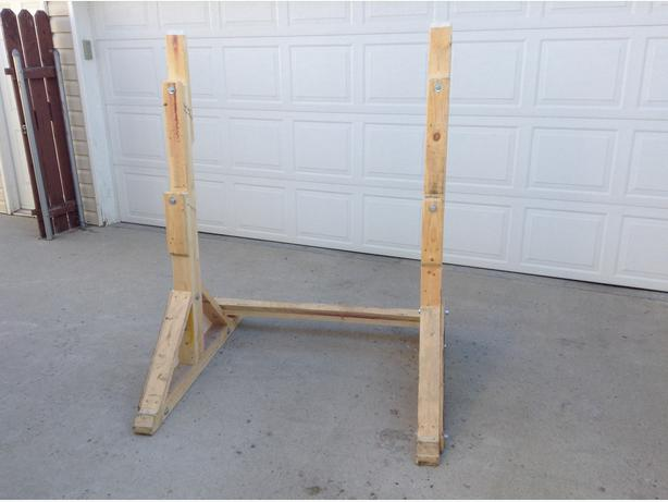Free homemade wooden squat bench rack north regina regina for Homemade squat rack