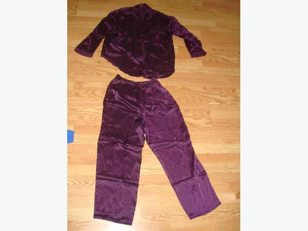 Like New Rich Purple Satin PJ Pyjamas 2 Piece Size Small Medium! $4