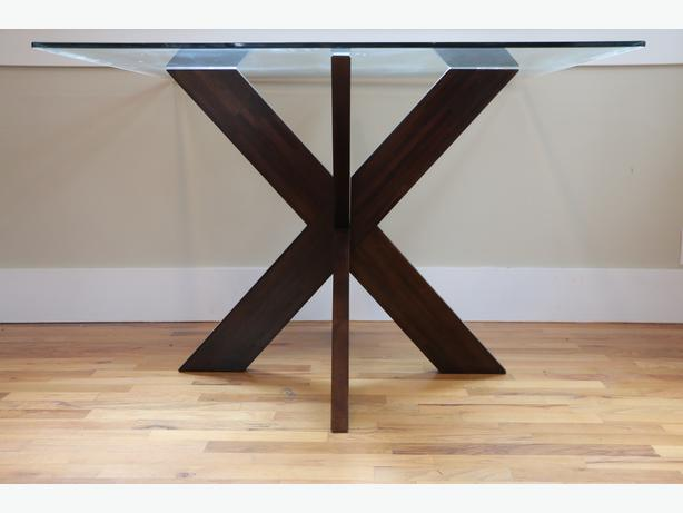 """pier 1 imports """"x"""" based coffee table with beveled glass"""