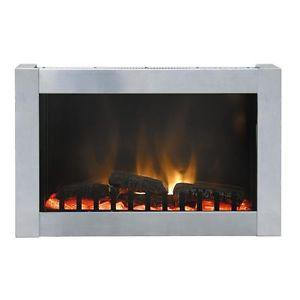 Dresden Stainless Steel Wall Mount Electric Fireplace