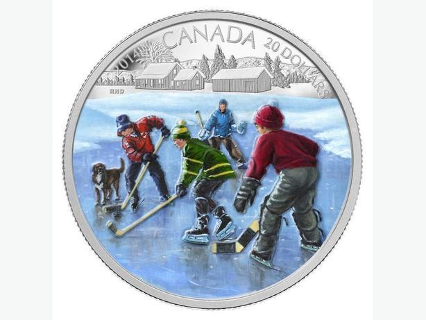 2014 Canada $20 Fine Silver Coloured Coin - Pond Hockey