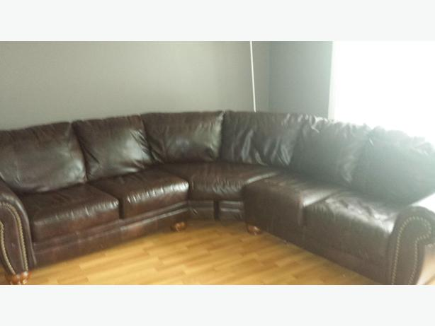 Beautiful brown pleather sectional : pleather sectional - Sectionals, Sofas & Couches