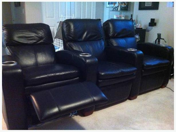 sale set of 3 la z boy black leather media home theatre chairs