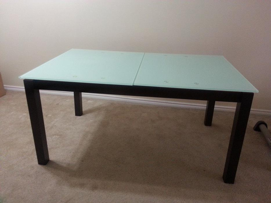 Glass Dining Room Table With Extension Leaf Saanich Victoria